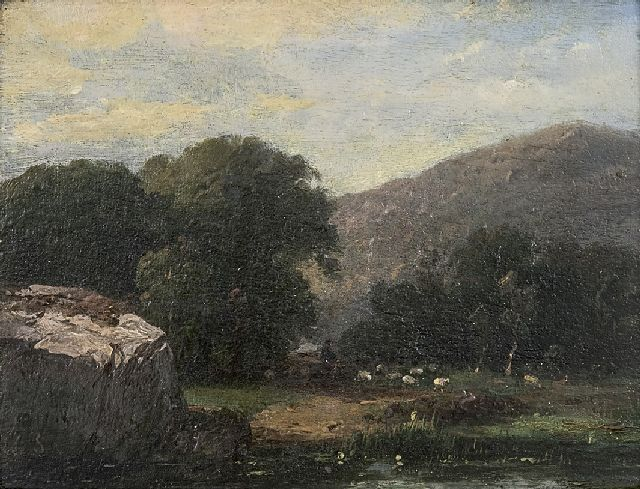 Schelfhout A.  | A hilly landscape with a shepard and his flock, oil on panel 13.8 x 17.5 cm, signed l.l. with initials