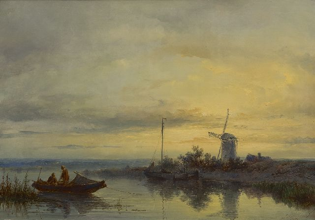 Johannes Hilverdink | A river landscape with a rowing boat and fishermen, oil on panel, 31.1 x 44.5 cm, signed l.r. and dated 1869