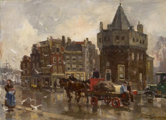 Frans Langeveld | A horse and cart near the Schreierstoren, Amsterdam, oil on canvas, 24.3 x 33.4 cm, signed l.r.