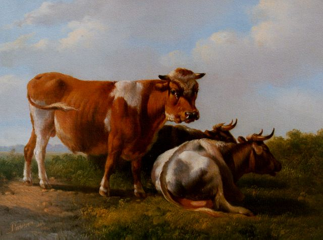 Albertus Verhoesen | A bull and two cows in a meadow, oil on panel, 17.0 x 22.4 cm, signed l.l. and dated 1846