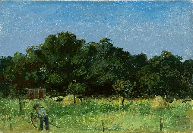 Harm Kamerlingh Onnes | A farmer working in the fields, oil on board, 17.0 x 24.0 cm