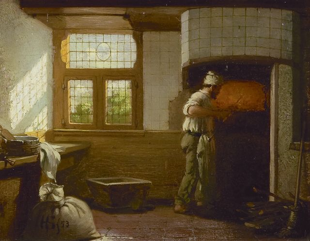 Hendricus Johannes Scheeres | A baker at work, oil on panel, 13.3 x 17.1 cm, signed l.l. with monogram and dated '53