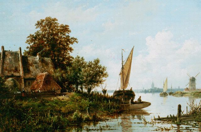 Josephus Gerardus Hans | A river landscape with a moored boat, oil on panel, 37.3 x 52.9 cm, signed l.r.
