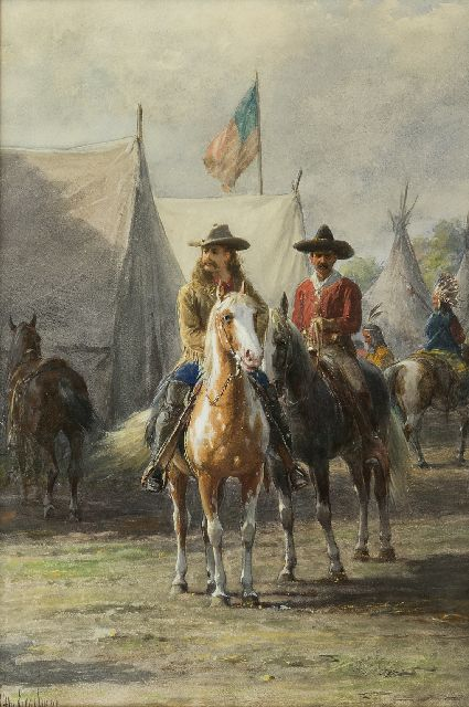 Otto Eerelman | Buffalo Bill on a Appaloosa horse, watercolour and gouache on paper, 54.3 x 36.9 cm, signed l.l.