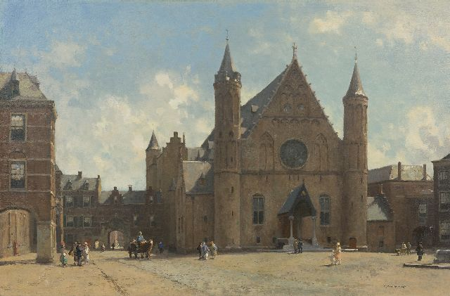 Cornelis Vreedenburgh | October morning: a view of The Ridderzaal in The Hague, oil on canvas, 60.5 x 90.5 cm, signed l.r.