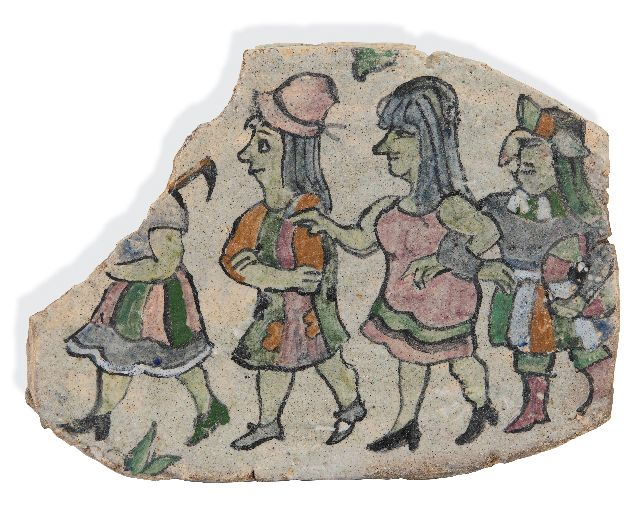 Harm Kamerlingh Onnes | Shard with four figures: polonaise, glazed pottery, 22.0 x 29.5 cm, signed on the reverse with Monogram and dated '73 on the reverse