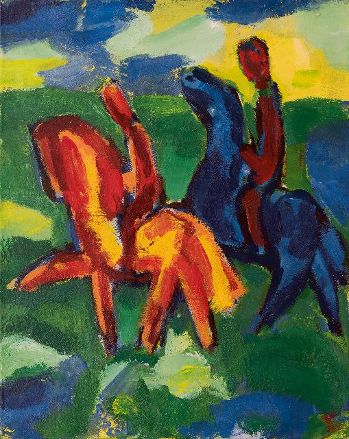 Gerrit Benner | Two horsemen, oil on canvas, 74.9 x 60.0 cm, signed on the reverse