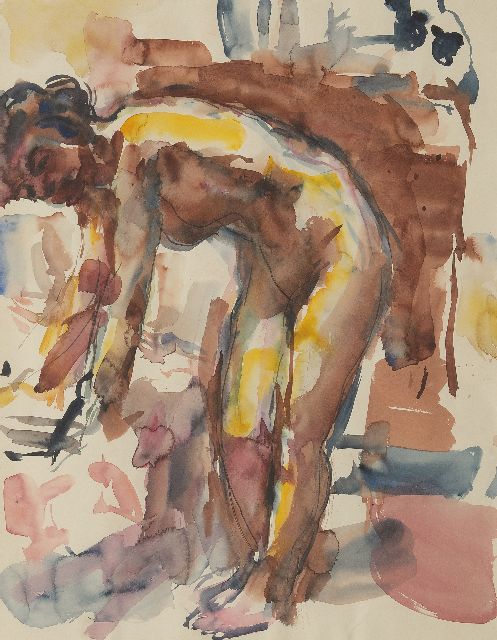Johan Dijkstra | Model in the artist's studio, watercolour on paper, 55.5 x 44.0 cm