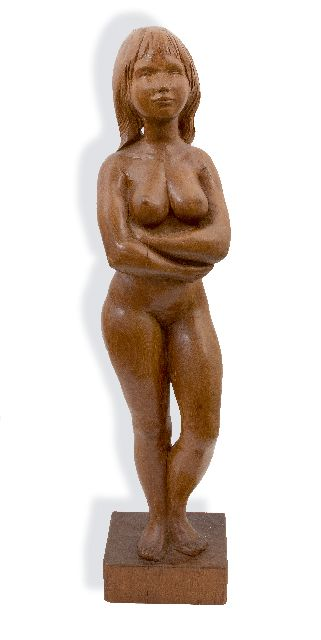 Piek G.  | Standing nude, wood 90.0 x 20.0 cm, signed on the base and dated 1966