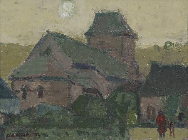 Otto B. de Kat | Church of Saint-Hippolyte, oil on canvas, 29.5 x 38.6 cm, signed l.l. and dated '74