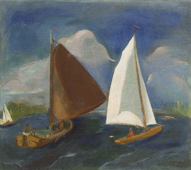 Wiegers J.  | Sailing boats on the Paterswoldsemeer, wax paint on canvas, 45.5 x 50.4 cm, signed l.r. (twice) and painted ca. 1931