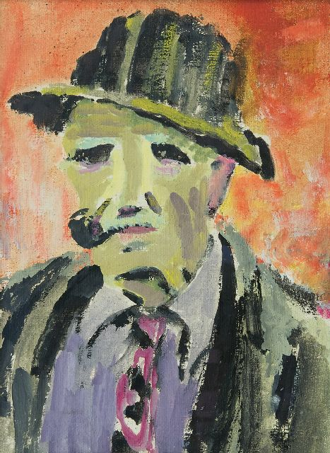 Altink J.  | Portrait of a man with a pipe, wax paint on canvas 40.0 x 30.0 cm, painted ca. 1942