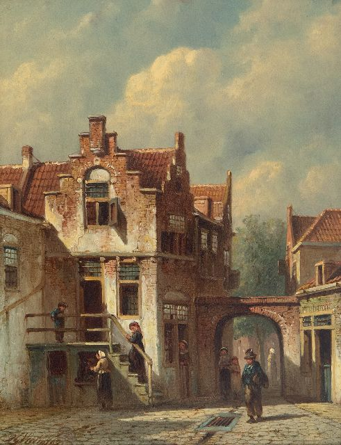 Petrus Gerardus Vertin | A sunny Dutch street and some people at the town gate, oil on panel, 26.1 x 20.5 cm, signed l.l. and dated '67