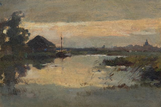 Knikker A.  | A river at dawn, oil on canvas laid down on panel 23.2 x 33.4 cm