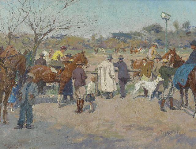 Hendrik Jan Wolter | Horseraces on the Galoppatoio, Villa Borghese, Rome, oil on canvas, 33.7 x 44.6 cm, signed l.r. and painted ca. 1938-1940