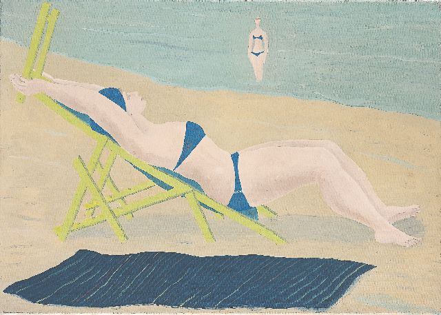 Ferdinand Erfmann | Sunbather, oil on canvas, 50.0 x 70.4 cm, signed l.l. with monogram and dated 1958