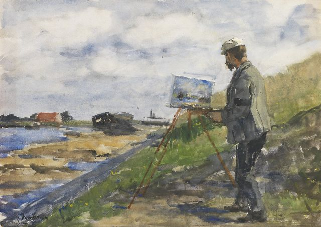 Floris Arntzenius | The painter Carl August Breitenstein at work, watercolour and gouache on paper, 35.7 x 49.8 cm, signed l.l.