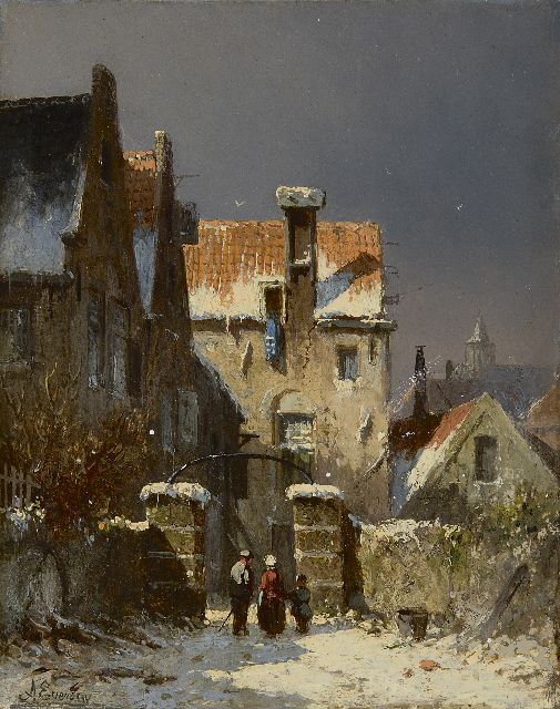 Adrianus Eversen | A town view in winter, oil on panel, 19.0 x 15.1 cm, signed l.l.