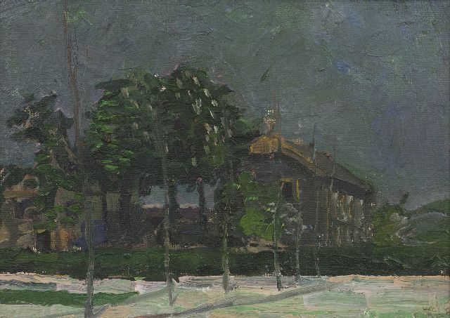 Harm Kamerlingh Onnes | Chestnut trees, oil on board, 24.9 x 34.4 cm, signed l.r. with monogram and dated '51