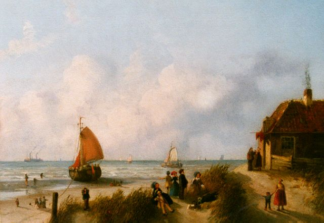 Joseph Bles | Figures on the beach, oil on panel, 20.5 x 26.0 cm, signed l.r.