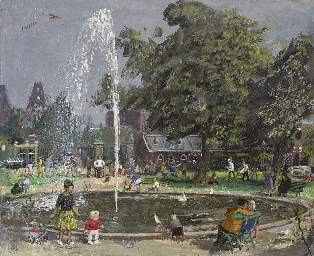 Harm Kamerlingh Onnes | A summer afternoon in the park, oil on canvas, 50.4 x 61.2 cm, signed l.l. with monogram and dated '63