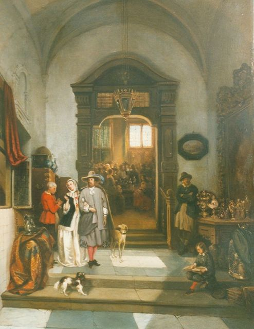 Johannes Anthonie Balthasar Stroebel | Viewing day, oil on panel, 52.0 x 39.8 cm, signed l.l. and dated 1850