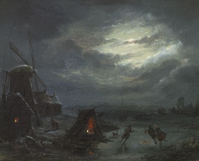 Tetar van Elven J.B.  | Moonlit winter landscape with skaters, oil on canvas 27.3 x 33.6 cm, signed on the reverse