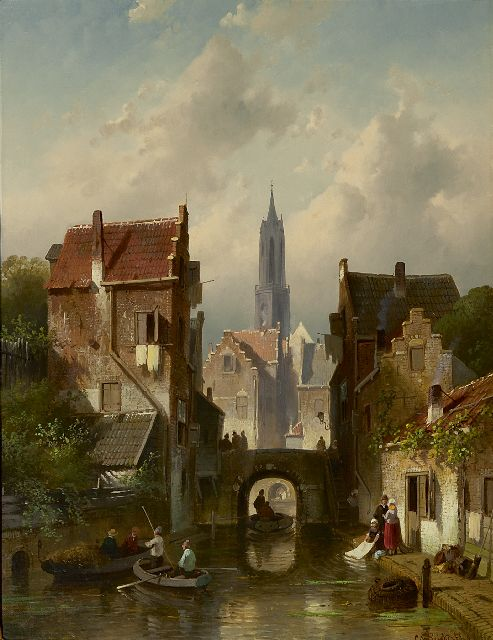 Charles Leickert | A town view with the 'Nieuwe Kerk', Delft, oil on canvas, 48.5 x 38.1 cm, signed l.r. and dated '66