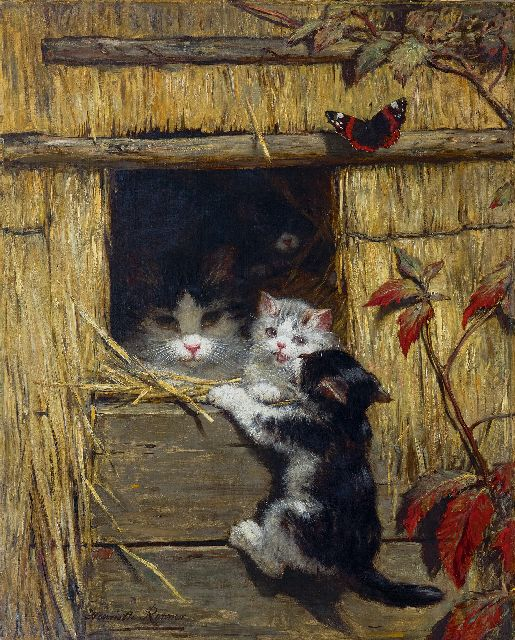 Henriette Ronner-Knip | A mother cat ant playing kittens, oil on canvas, 60.5 x 48.5 cm, signed l.l.
