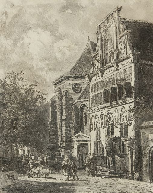 Springer C.  | Stedehuys Woerden (museum now), charcoal on paper 48.5 x 39.5 cm, signed l.l. and painted ca. 1858