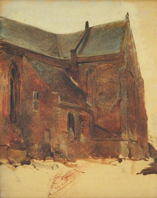 Johannes Bosboom | Sketch of a church exterior, oil on panel, 30.7 x 25.2 cm