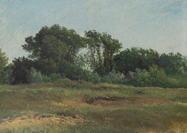 Johannes Warnardus Bilders | Landscape with farmhouse, oil on board laid down on panel, 31.9 x 44.6 cm, signed l.r. with initials
