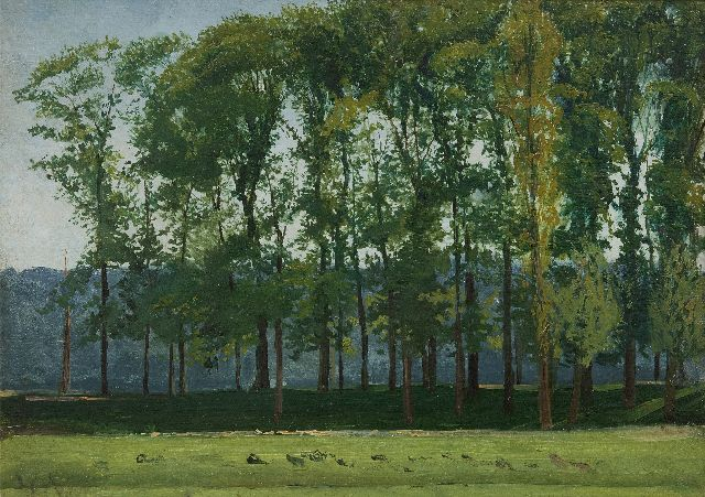 Willem Roelofs | Sketch of poplars, oil on panel, 26.0 x 35.0 cm, 1851-1855