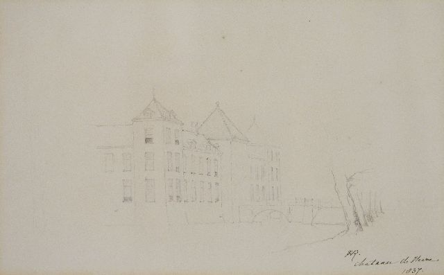 Henriette Ronner-Knip | Heeze castle, pencil on paper, 23.9 x 38.9 cm, signed l.r.. with monogram and dated 1837