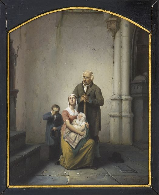 George Gillis Haanen | A family at the church exit, oil on panel, 34.3 x 27.1 cm, signed l.r. and dated 1832