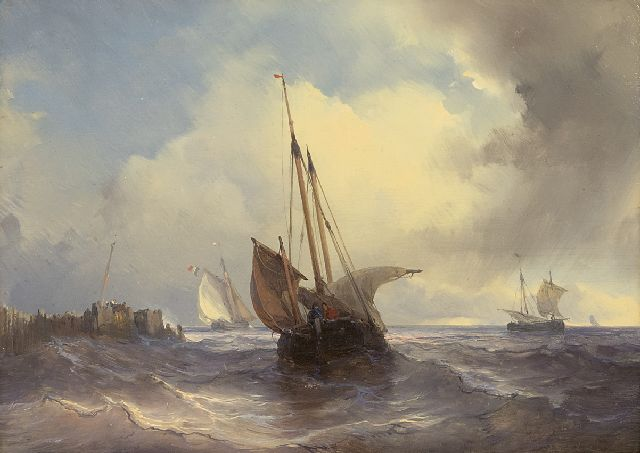 Louis Meijer | Sailing ships on a choppy sea, oil on panel, 18.8 x 25.7 cm, signed u.r.