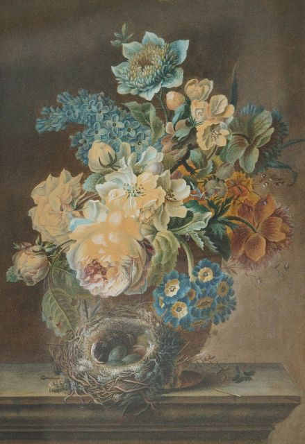Henriëtte Knip | Stillife with flowers and a birds nest, watercolour on paper, 41.6 x 28.5 cm
