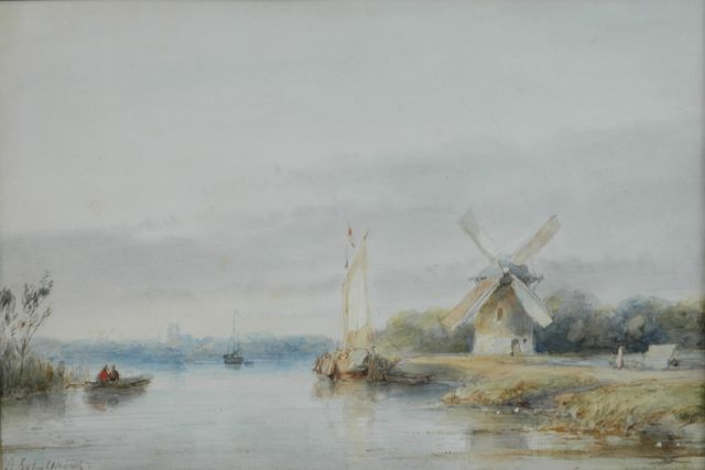Andreas Schelfhout | A river landscape in summer, watercolour on paper, 16.8 x 24.5 cm, signed l.l.
