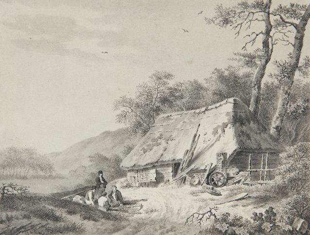 Koekkoek B.C.  | Figures near a farmhouse, drawing on paper