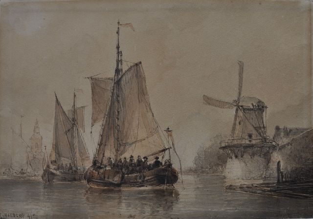 Antonie Waldorp | Joyful boat trip on a river, pen, brush and ink on paper, 23.4 x 339.0 cm, signed l.l. and dated '41