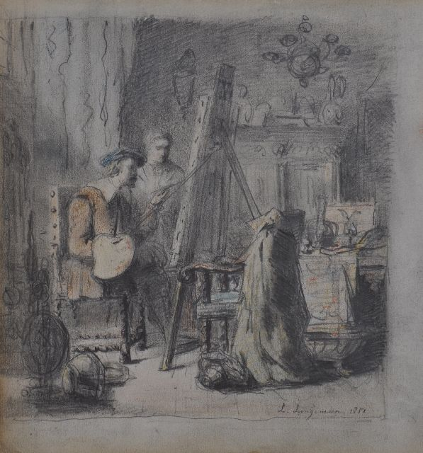 Lingeman L.  | Artist in his studio (probably Rembrandt), pencil and chalk on paper 22.4 x 20.8 cm, signed l.r. and dated 1852
