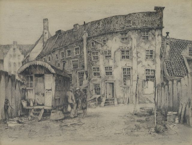 Jan Korthals | City wall houses in Amersfoort, drawing on paper, 46.0 x 56.0 cm, gesigneerd l.o.