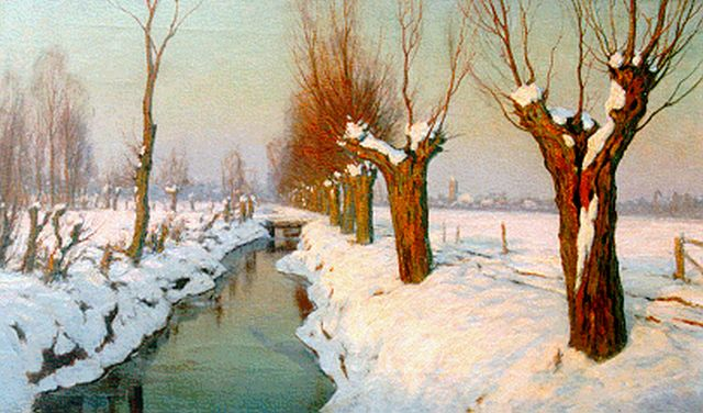 Johan Meijer | A winter landscape at dawn, oil on canvas, 60.4 x 100.5 cm, signed l.r.