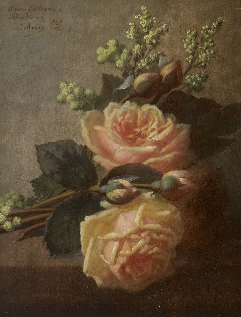 Robie J.B.  | Roses on a ledge, oil on panel 36.3 x 27.0 cm, signed u.l. and dated 'Août' 1907