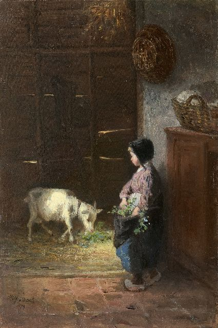 Jozef Israëls | Feeding the pet goat, oil on panel, 50.0 x 33.6 cm, signed l.l. and dated 1879