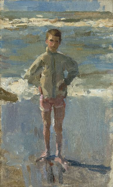 Isaac Israels | Young boy on the beach in Scheveningen, oil on canvas, 50.0 x 30.0 cm, signed on the stretcher and painted 1895-1905