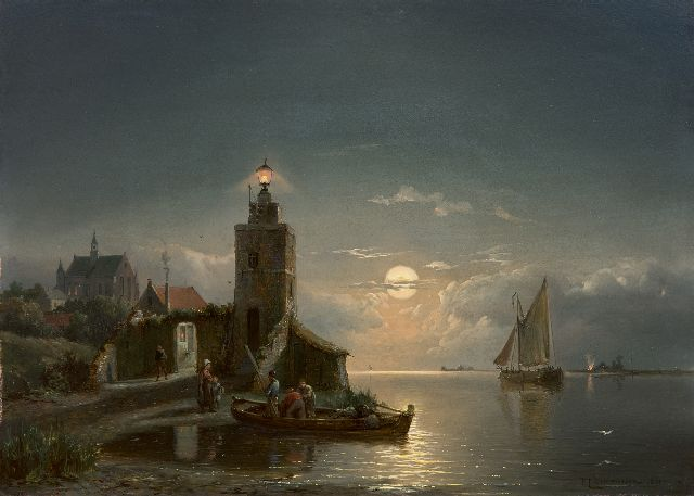 Pieter Cornelis Dommershuijzen | A lighthouse by night, oil on panel, 27.4 x 38.0 cm, signed l.r. and dated 1881