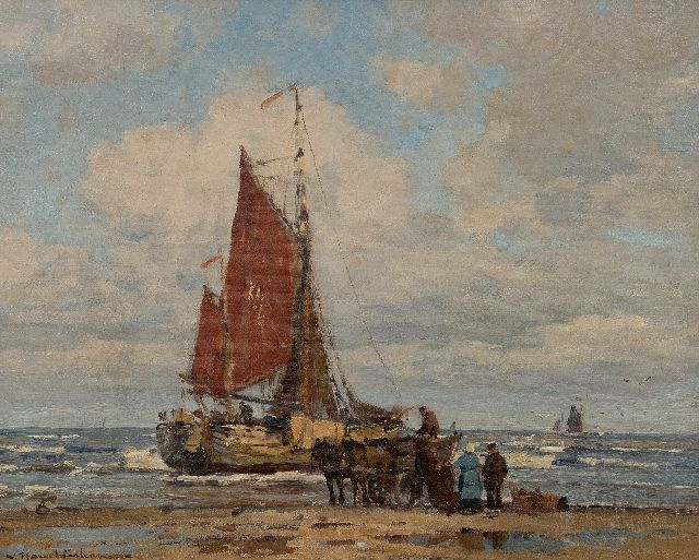 Hambüchen W.  | Fishing vessel in the surf, Katwijk, oil on canvas 50.0 x 60.5 cm, signed l.l.