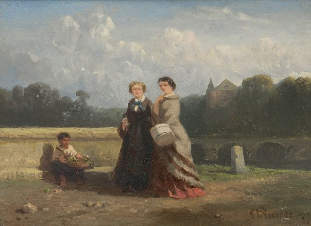 Salomon Verveer | Two ladies and a child selling flowers in a landscape, oil on panel, 15.1 x 20.2 cm, signed l.r. and dated '57