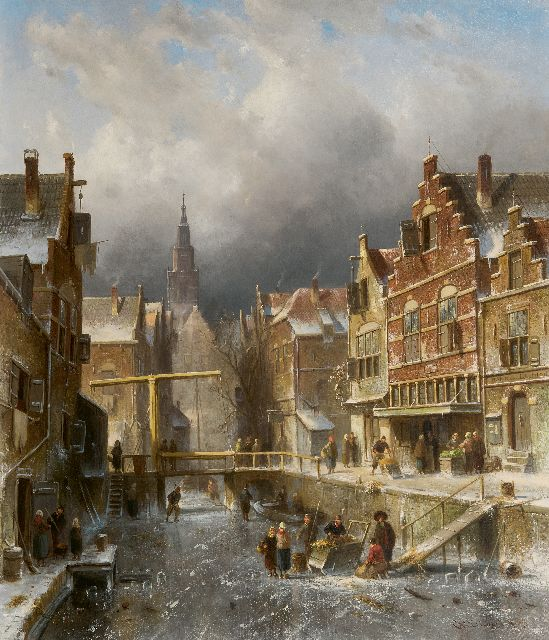 Leickert C.H.J.  | A frozen canal in winter, oil on canvas 70.1 x 60.0 cm, signed l.r. and dated '85